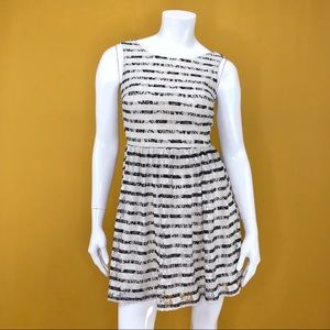 CITY STUDIO Black and White Striped Lace Dress